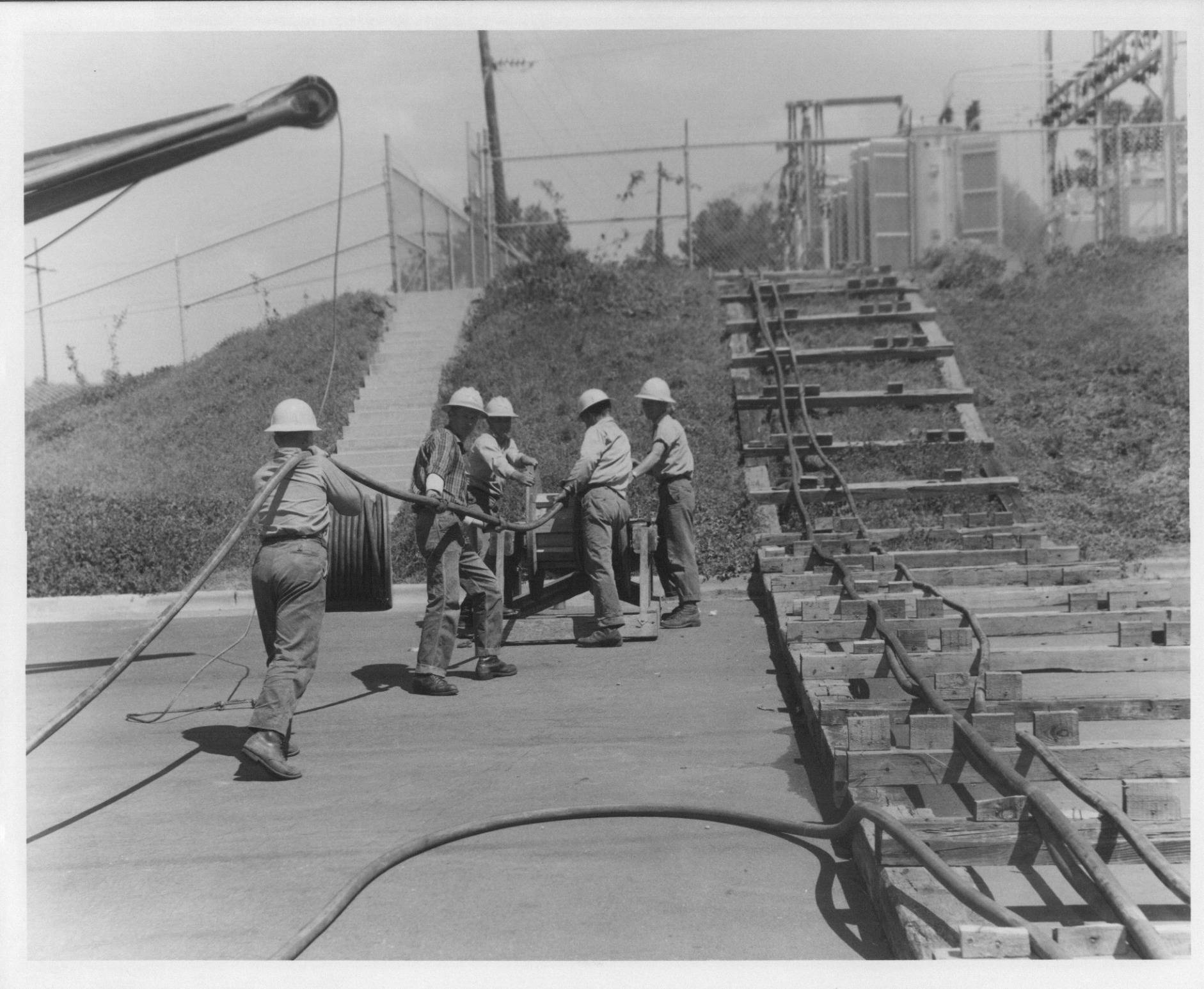 Pulling wire to substation
