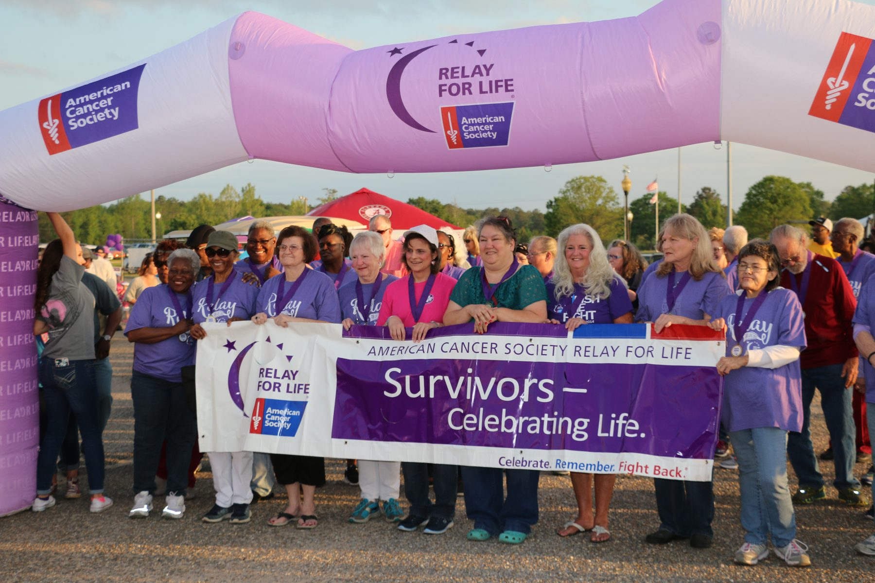 Relay For Life survivors gathering for walk